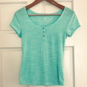 Ribbed Snap Button Top Turquoise Aqua